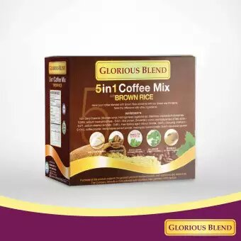 Glorious Blend 5 in 1 Coffee Mix with Brown Rice, Sweetend with Stevia 15g x 10 sachets