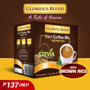 Glorious Blend 5 in 1 Coffee Mix with Brown Rice, Sweetend with Stevia 15g x 10 sachets - GIDC Philippines