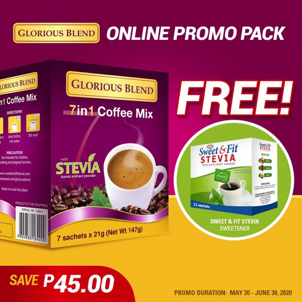 Glorious Blend 7 in 1 Coffee w Stevia 21g x 7 sachets - GIDC Philippines